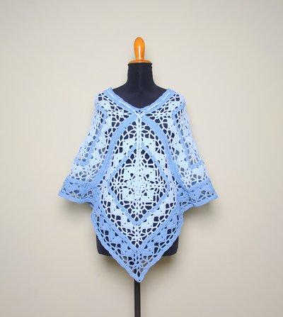 Poncho uncinetto cotone, granny square, poncho estate, outfit donna primavera estate, realizzato a mano. SCEGLI COLORE e TAGLIA