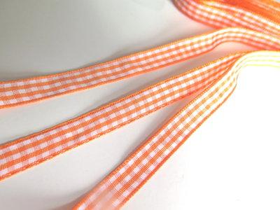 Nastro raso quadretti arancione   NA83