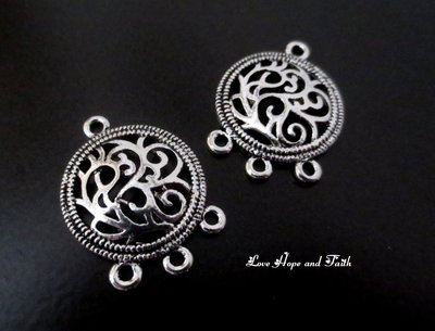 "1 Charm/connettore ""Vintage-silver"" color argento (26x20mm) (Scod. 24904)"