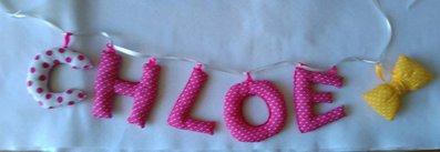 Banner di lettere imbottite nome bambino