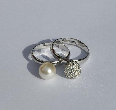 Coppia Anelli con perla bianca e perla pavè di cristalli