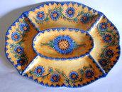 Piatto antipastiera ovale in ceramica dipinta a mano. Decoro Floris