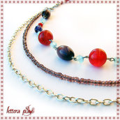 *RISERVATA a PRIS: collana tripla (rosso-viola-celeste)*