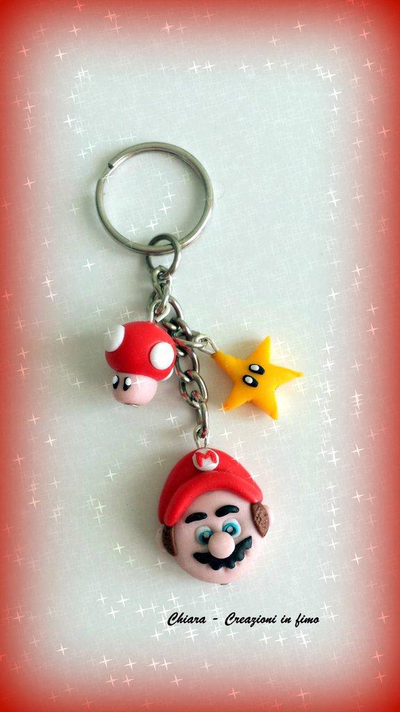 Portachiavi in fimo handmade Super Mario Bros idee regalo festa del papà regalo