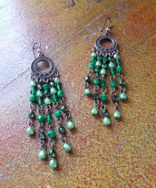 Orecchini Chandelier Verdi, Color Rame, Semi cristalli, Stile gitano