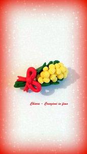 Spilla in fimo con mimosa idee regalo donna festa della donna