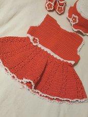 Completo uncinetto bimba 3 mesi vestitino + scarpine+ cappellino