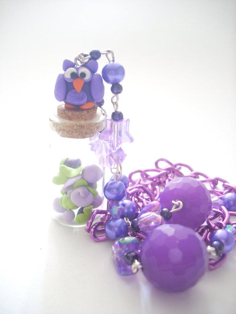 Collana gufetto viola