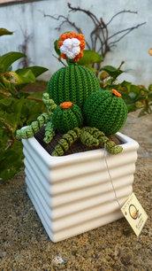 Composizione piante grasse amigurumi in vasetto di ceramica