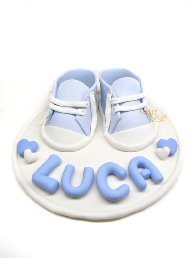 Cake topper con scarpine nascita battesimo  bambino bimbo