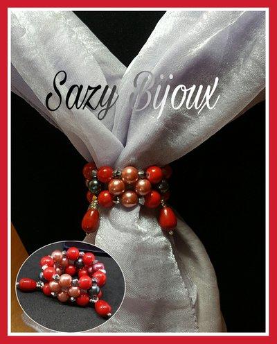 Anello FERMA FOLULARD in tessitura di perle e cristalli ROSSO