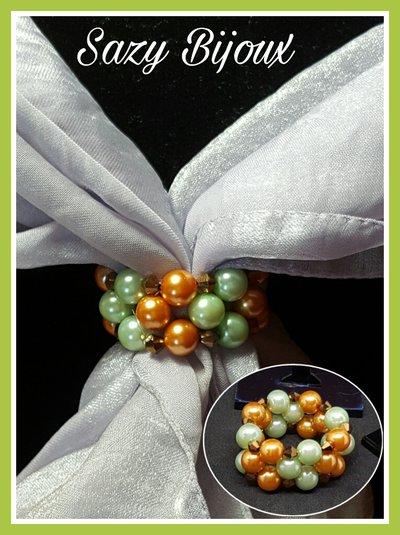 Anello FERMA FOLULARD in tessitura di perle e cristalli VERDE/ARANCIO