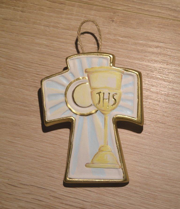 Croce di gesso e oro con ostia e calice vino. Comunione e cresima dim. 10 x 8 cm. ca. prodotto artigianale.