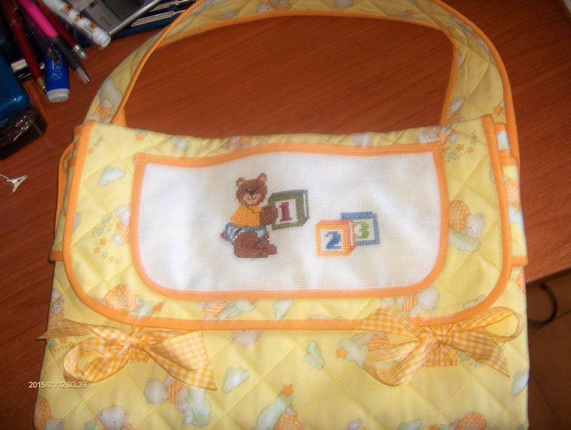Borsa fasciatoio gialla con orsetti che dormono,tutto realizzato a mano