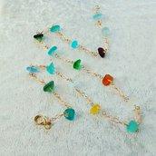 """Collana in vetro di mare - """"Rainbow"""""""