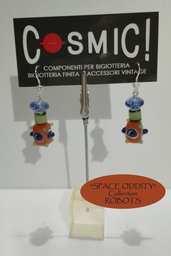 "Orecchini Robot arancio / blu / verde giada - ""Space Oddity"" Collection"