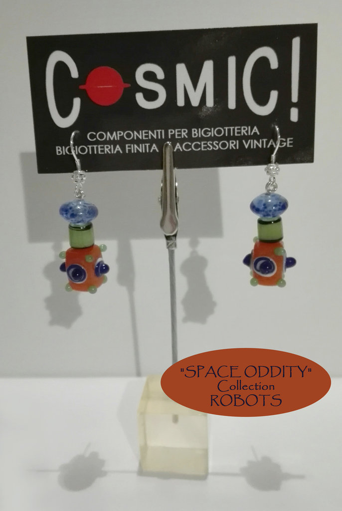 "Orecchini Robot arancio / blu / verde giada - ""Space Oddity"" Collection"