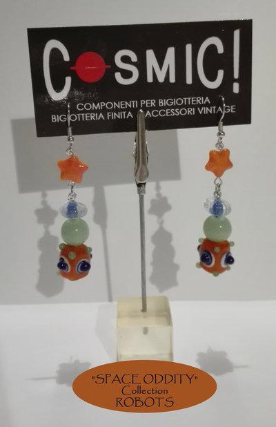 """Orecchini Robot arancio / blu / verde giada con stellina - """"Space Oddity"""" Collection"""