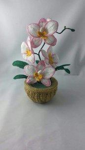 piantina d'orchidea all'uncinetto