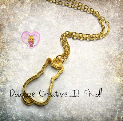 Collana Gattino - miniature color oro - cat lover