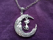*Ciondolo di luna calante + gattino con catena - Waning moon + kitten necklace*