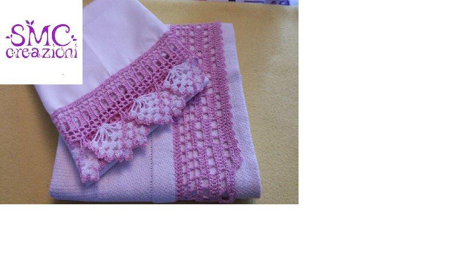 bordo per coppia asciugamani con salvietta intima