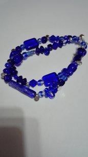 bracciale doppio con pietre di boemia blu