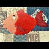 pesce in metallo  dipinto a mano