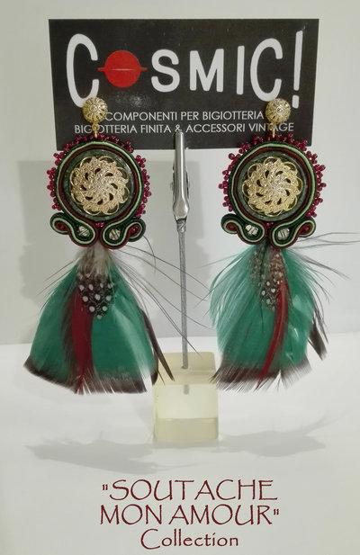 """Orecchini rosso-verdi con bottoni lavorati vintage - Collezione """"Soutache Mon Amour"""""""
