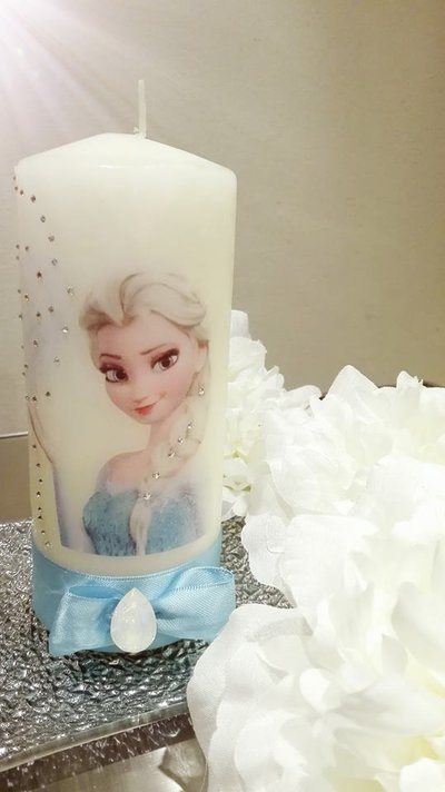 Candele decorate Frozen