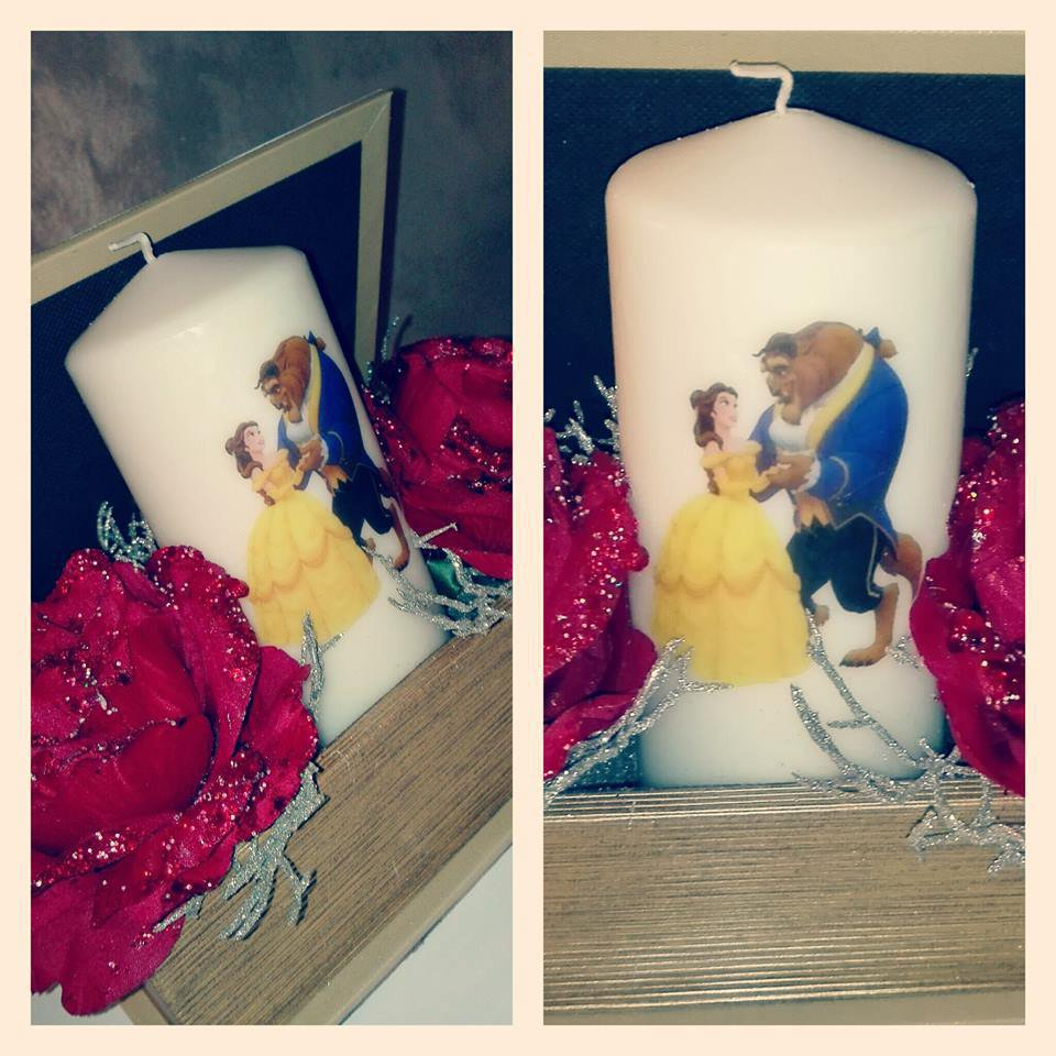 Candele decorate Beauty and the Beast