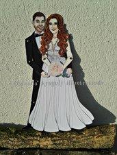 Gli Sposi-Bambole di carta articolate,realistiche,personalizzate,uniche nel suo genere,matrimonio,fidanzamento,anniversario