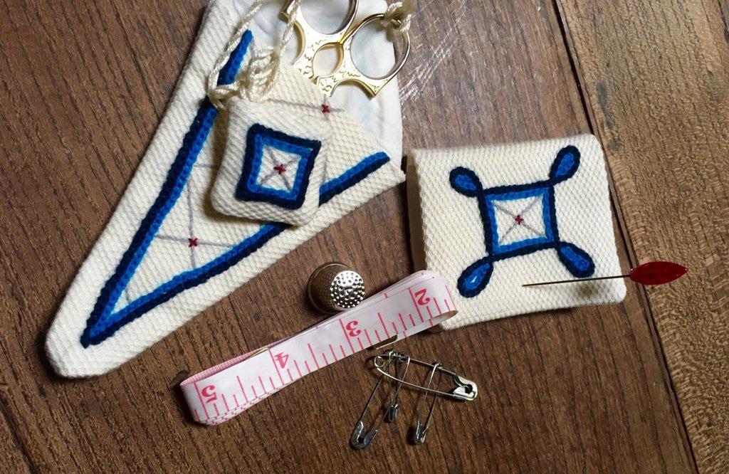 Set primo cucito-accessori per sartoria ricamato a mano