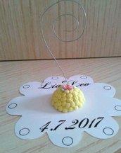 Segnaposto matrimonio torta mimosa in fimo