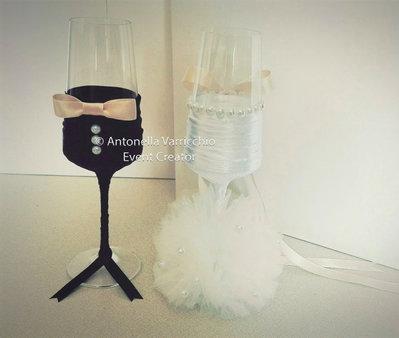 Wedding flutes lui e lei