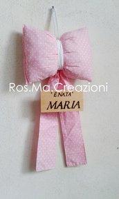 Fiocco Nascita in stoffa personalizzato con targhetta in legno inciso a mano Fatto a Mano