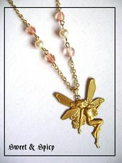 FAIRY NECKLACE-COLLANA VINTAGE CON FATA E CRISTALLI