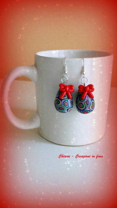 Orecchini in fimo handmade uova di Pasqua con murrine colorate idee regalo amica