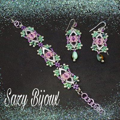 SPRINGS: Bracciale e Orecchini in tessitura di perline in vetro di Boemia
