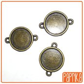2 Connettori bronzo con base cameo 16mm