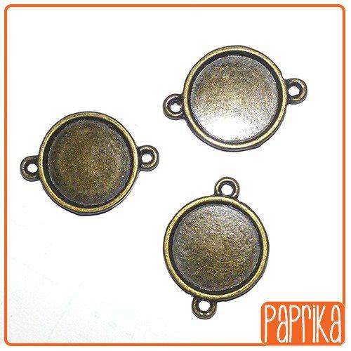 2 Connettori bronzo con base cameo 16mm