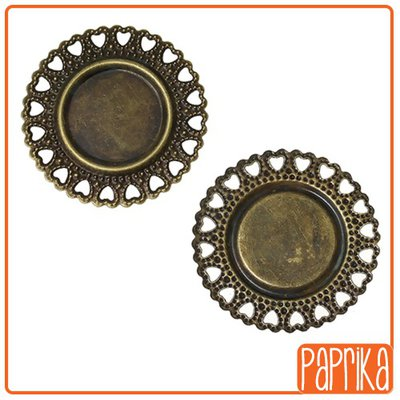 2 Connettori bronzo con base cameo 18mm