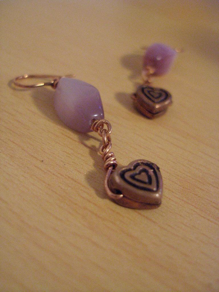"""orecchini """"cuore e rame"""""""