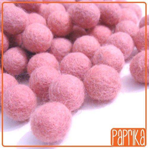 10 Perline in feltro rosa 20mm