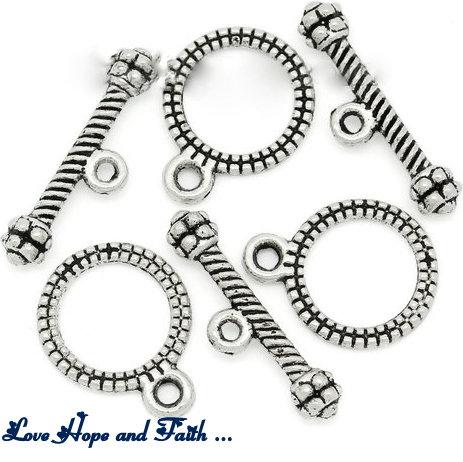 """Chiusura a """"T"""" color argento """"Circle vintage""""  (13mm x10mm -17mm x 5mm) (scod.29010s)"""