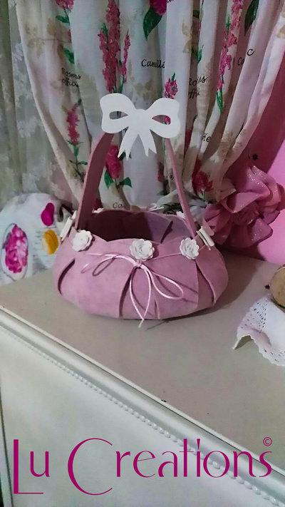 Cesta porta confetti/bomboniere per nascita