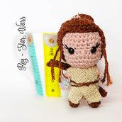 Star Wars Rey amigurumi portachiavi pupazzetto uncinetto