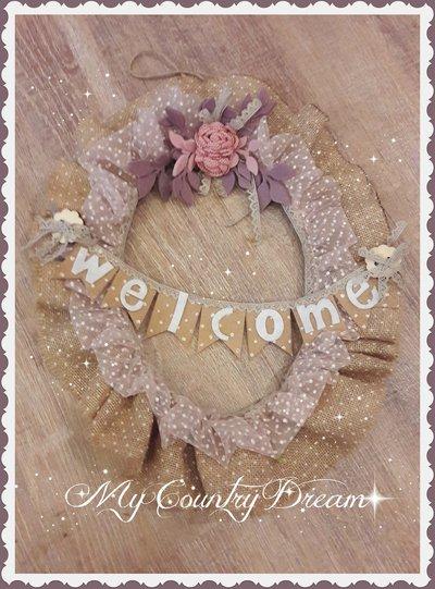 """Ghirlanda Shabby chic """"Welcome"""""""