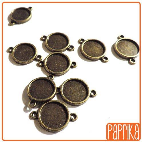 2 Connettori bronzo con base cameo 14mm