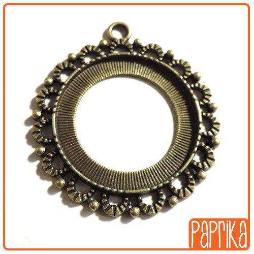 Ciondolo bronzo con base per cameo 30mm